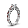 asscher cut diamond shank wave side stone engagement ring with red ruby in 14K white gold FDENS3543ASRGRUDRANGLE2 NL WG