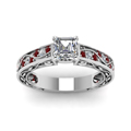 asscher cut diamond shank wave side stone engagement ring with red ruby in 14K white gold FDENS3543ASRGRUDRANGLE5 NL WG